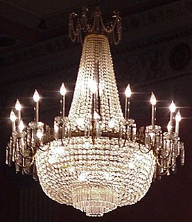 picture of chandelier at the Lafayette Grande Ballroom, Pontiac, Michigan